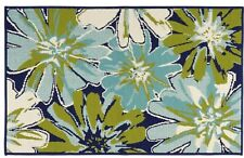 Dark Blue Green Large Floral Flowers Indoor/Outdoor All-Weather Area Rug -20x30