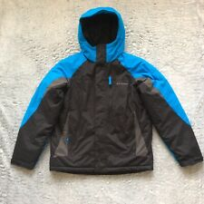 Columbia Boys Youth Jacket Size 18/20 Black Blue Insulated Hoodie Winter Ski