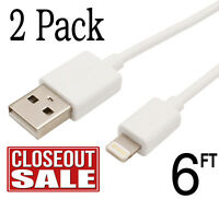2x USB Cable Charger 6Ft 2M For Apple OEM Lightning Original iPhone 7 8 6 5 X