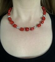 "#1145 Classic Red Coral, Navajo Silver Beads, 18"" Necklace, 925 Hook Eye Clasp"
