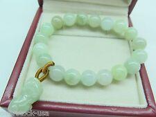 Certified Natural Grade A Jade (jadeite) Bracelet 10mm Round Bead Pixiu Bracelet