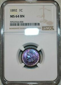 1892 INDIAN HEAD CENT NGC MS 64 BN INTENSE COLOR TONED LUSTER GEM APPEAL