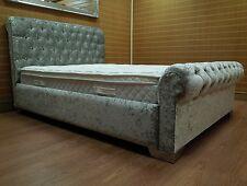 5ft King Size Crushed Velvet Bed Bundle Inc mattress foot stool & ottoman box