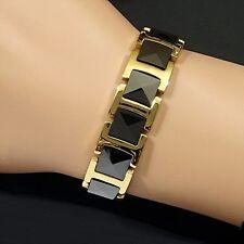 Strong Magnetic Tungsten Arthritis CTS RSI 24K 2Tone Gold & Black PLT Bracelet