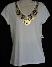 TAHARI White Brown Gold V-Neck Tee Shirt Top Large NWT Womans (MSRP $68)