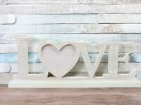 "4X4"" Whitewash Wood Effect LOVE Wooden freestanding heart Photo Frame"