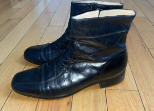 Men's Stacy Adams Black Dawson Leather Zip-Up Ankle Boots (11 D)