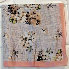 """TERRIART Floral DB w/Pink Border 27"""" Square Scarf-Vintage"""