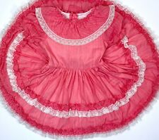 MARTHAS MINIATURES WE'RE FUSS Coral Pink Pageant Full Circle Ruffle Dress 6 USA