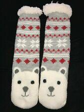 teen girl Womens Slippers Gripper Bottoms polar bear Reindeer Christmas one size