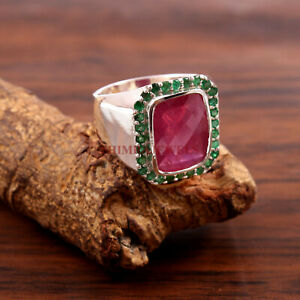 Natural Ruby & Green Onyx Gemstone with 925 Sterling Silver Ring for Men's #257
