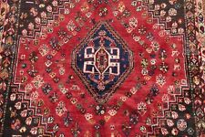 Vintage Geometric Tribal Abadeh Area Rug Oriental Hand-Knotted 4'x5' Wool Carpet