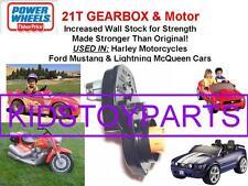 21T POWER WHEELS #7R HARLEY MOTORCYCLE, MUSTANGE MCQUEEN GEARBOX & Motor