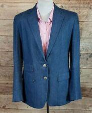 Women's LRL Ralph Lauren Blue Linen Blazer/Sports Coat/Jacket Sz 6 EUC