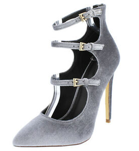 Light Gray / Champagne Velvet Strappy Ankle Bootie Heels, US 10