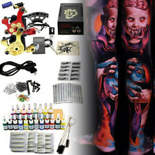Complete tatoo Kit 2 Machine Guns Shader Liner Needles Power Supply DIY Set