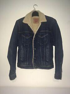 Vintage Levis Denim Sherpa Lined Jacket - Mens M