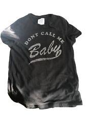 "Zoe Karssen T-Shirt ""Don't Call Me Baby"" Black Size Small UK 8 - 10"