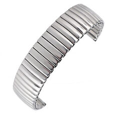 18mm Wrist Watch Band Stainless Steel Pin Buckle Silver Expansion Stretch Strap