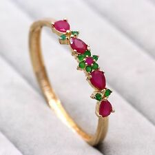 New Women Wedding Jewelry Ruby Bracelet  18K Yellow GP Emerald Pretty Bangle
