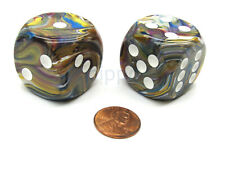 Festive 30mm Large D6 Chessex Dice, 2 Pieces - Carousel with White Pips