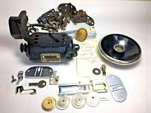 OLD Antique Vtg SINGER Sewing Machine PARTS LOT BR7 MOTOR, Mount, Wheel, Badge +
