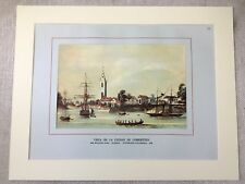 Vintage Print View of Old Corrientes Port Harbour Argentina Sailing Ships Boats