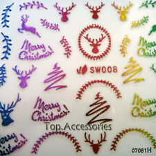 Christmas Reindeer Design 3D Nail Art Decals Stickers #07081H Free P&P