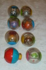FISHER PRICE DROP INS ROLL A AROUNDS  PLASTIC BALL LOT 8 RATTLE TOY ANIMALS
