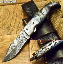 LOUIS MARTIN RARE CUSTOM MADE DAMASCUS ART FOLDING KNIFE LINER LOCK RAM'S HORN
