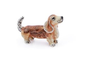 Saturno Sterling Silver and Enamel Dachshund - Brown