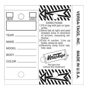 WHITE Genuine Versa-Tag Key Tags, Self-Protecting 250 tags per box
