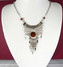 Handmade Peruvian Mahogany Obsidian Alpaca Silver Necklace -Boho Jewellery