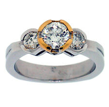 1.27ctw 3 ROUND DIAMOND ENGAGEMENT RING 14K WHITE GOLD