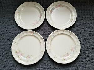 """USED Set of 4 Pfaltzgraff TEA ROSE Stoneware Dinner Plates 10-1/4"""""""