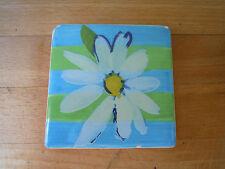 Fleur-Daisy-Céramique aimant de réfrigérateur peint à la main? Bleu Blanc Vert & Jaune