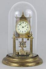 EARLY ANTIQUE 400 DAY ANNIVERSARY CLOCK glass dome, disc pendulum D.R.P.