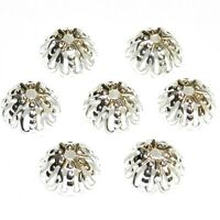 M687 Silver 12mm Open Filigree Round Plated Brass Bead Caps 20pc