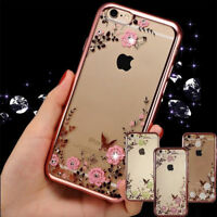 Luxury Clear Crystal Diamond Soft Silicone Phone Case Cover For iPhone X 6 7 8AA