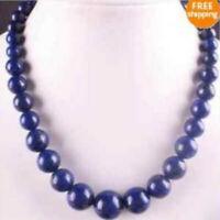 "Natural 6-14mm Blue Lapis Lazuli Gemstone Round Beads Necklace 18"""