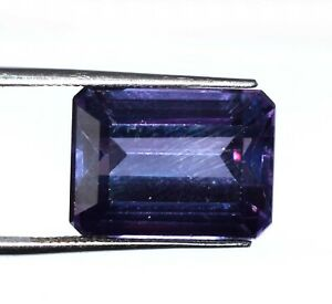 100% Natural 17.20 Ct Color Changing Sapphire Gems Emerald Cut Certified E6148