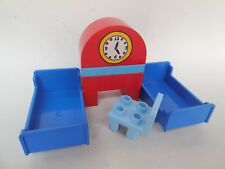 Lego Duplo House - BEDROOM FURNITURE - 2 x Blue Beds + Table, Chair and Clock