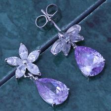 Silver 925 Lavender Flower Dangle Stud Earrings