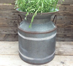 Extra Large Vintage Style Metal Milk Churn Garden Planter Flower Pot Ornament