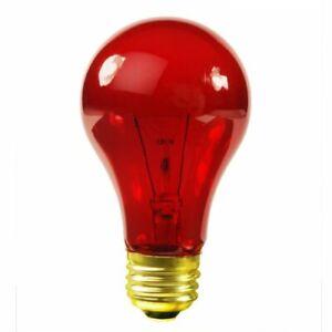 Satco S6080 25 Watt A19 Incandescent Light Bulb, Transparent Red
