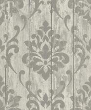 Tapete Vlies Ornament Holz Glanz grau Rasch Indian Summer 625967 (3,93€/1qm)