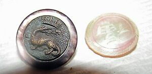 2 antique Chinese buttons carvd mother of pearl & bronze dragon +mother of pearl