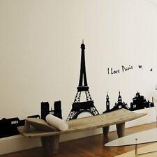 Black Removable Paris Eiffel Tower Vinyl Decal Art Mural Home Decor Wall Sticker
