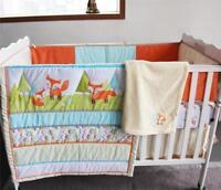 Lovely Fox Baby Bedding Set Crib Nursery Quilt Skirt Sheet Blanket Bumper Gifts