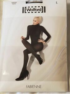 Wolford shimmer dot tights XS black velvet opaque Fabienne ladies NEW 66 denier